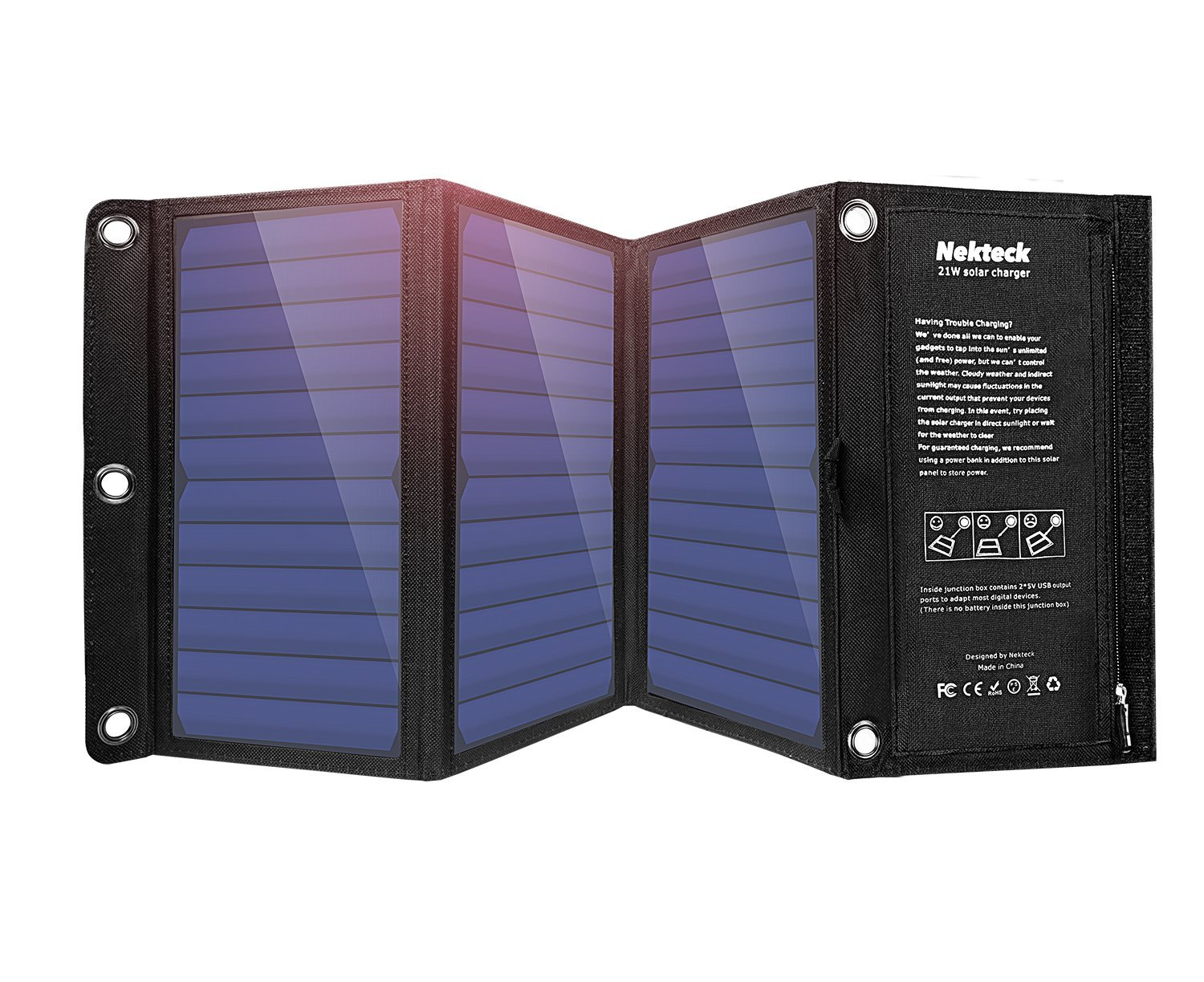 Nekteck-21W-Solar-Charger-with-2-Port-USB-Charger-Build-with-High-efficiency-Solar-Panel-Cell-for-iPhone-6s--6--Plus-SE-iPad-Galaxy-S6-S7-Edge-Plus-Nexus-5X-6P-any-USB-devices-and-more