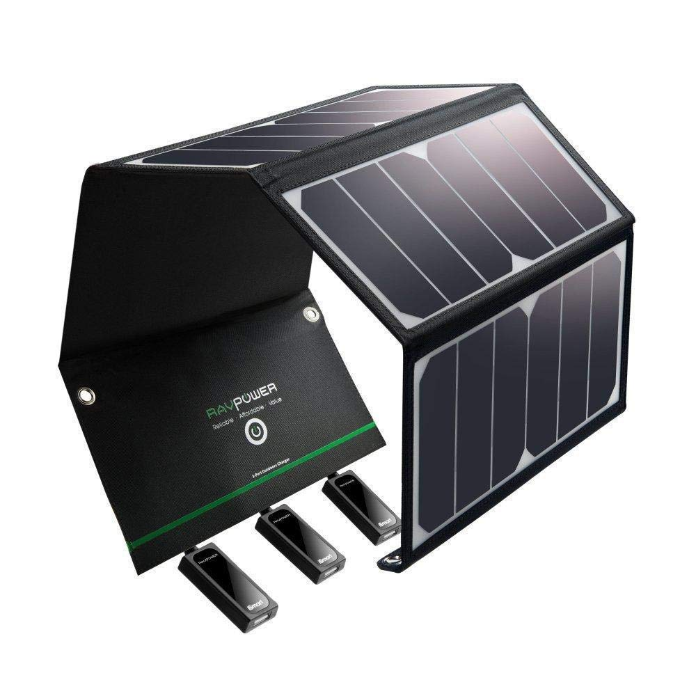 RAVPower-Solar-Charger-24W-Solar-Panel-with-3-USB-Ports-Waterproof-Foldable-Camping-Travel-Charger-Compatible-iPhone-Xs-XS-Max-XR-X-8-7-Plus-iPad-Galaxy-S9-S8-Note-8-and-More-Black