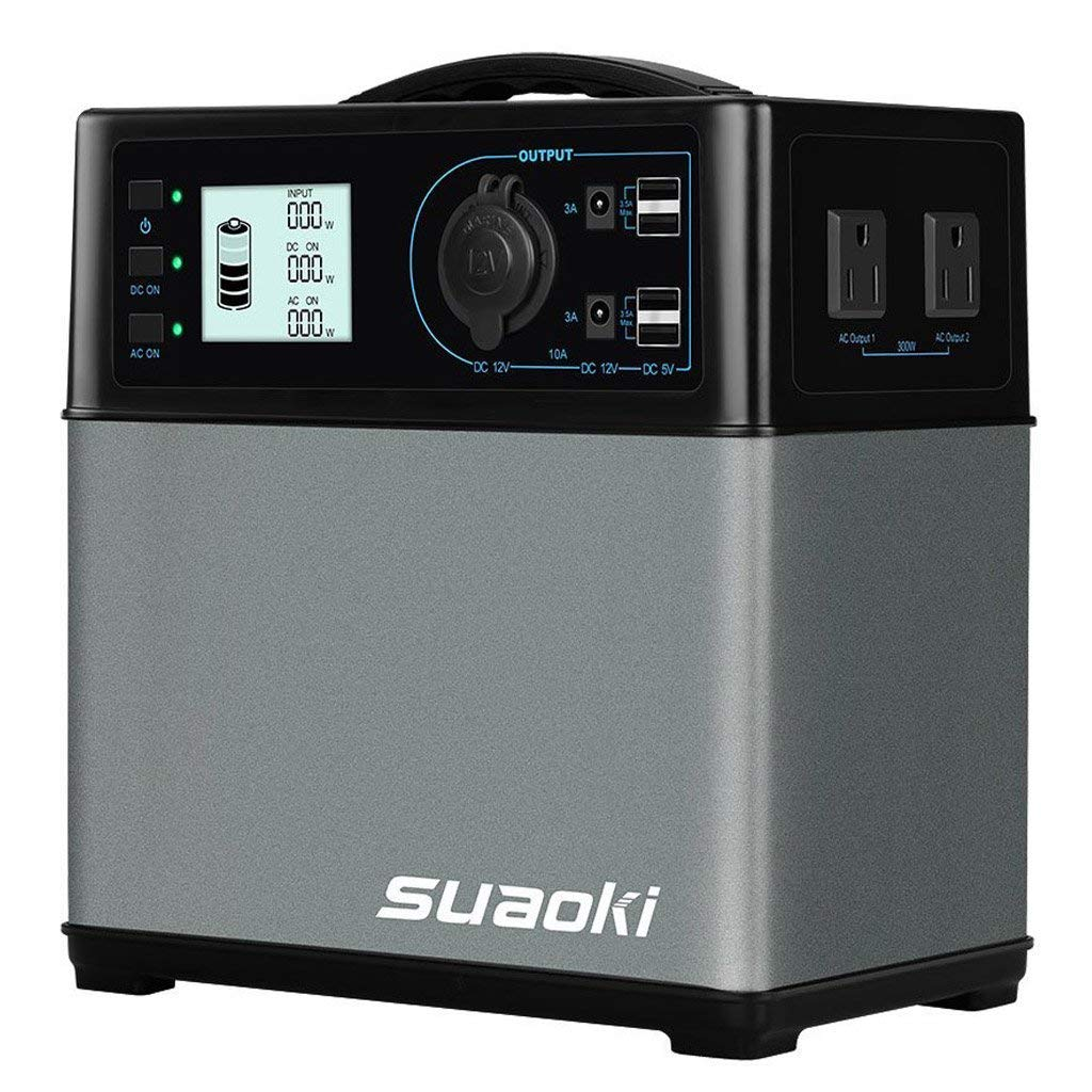 SUAOKI-400Wh-120-000mAh-Portable-Generator-Power-Station-Power-Supply-with-Quiet-300W-DC-AC-Inverter-12V-Car-DC-AC-USB-Outputs